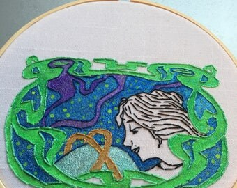stargazer - hand embroidered art nouveau style wall hanging / hoop art