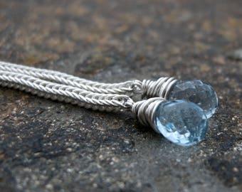 sky blue topaz earrings, topaz sterling silver earrings, topaz dangle earrings, topaz drop earrings, handmade earrings, gemstone earrings
