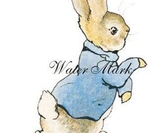 Rabbit*Bunny*Blue waist coat b*Quilt art fabric block*Quilts,Pillows,Sachets,Frame