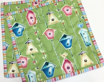 Pot Holders Birdhouse on Green Hot Pads Set of Two Spring Quilted Handmade