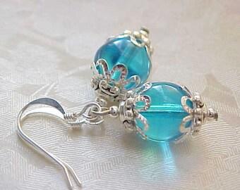 Mini Easter Egg Earrings Easter Earrings Robins Egg Blue Earrings Vintage Czech Earrings Shabby Chic Earrings Women Easter Basket Gifts