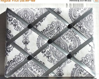 Christmas In July 30% Off Black And Gray Damask Memory Board French Memo Board, Fabric Ribbon Memo Bulletin Board, Ribbon Pin Board, Fabric