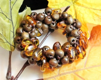 Wood Bead Amber Bead Stretch Bracelet Vintage Bracelet Amber and Brown Bracelet 1970 Bracelet Brown Wood Beads Amber Glass Beads
