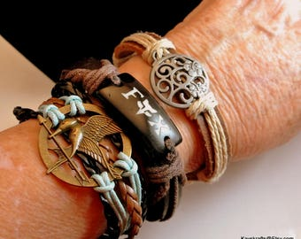 Three Leather Bracelets Mens Leather Bracelets Leather Wrap Worn Bracelets Vintage Bracelets