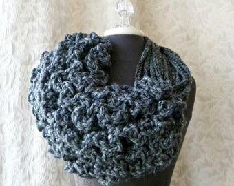 The Bustle Couture Ruffle Cowl in Charcoal Gray by Fringe