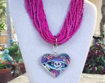 Dia de los Muertos La Catrina Seed Bead Heart Necklace