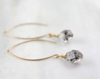 Tourmalinated Herkimer Diamond Drop Gold Petal Earrings