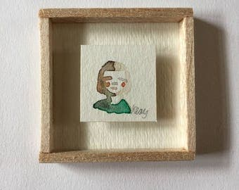 Tiny Watercolor Portrait Framed Miniature Painting Original