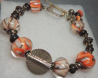 STEEL Handmade Lampwork Bead Bracelet