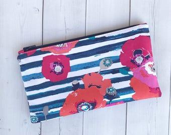 Floral Zipper Pouch Floral Zipper Bag Floral Pencil Case Zipper Case Pencil Pouch Gift For Her Purse Organizer Navy Blue Stripes Makeup Bag