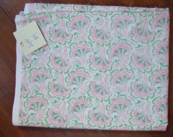 Pink and Green Floral Cotton Fabric - Destash Vintage Look