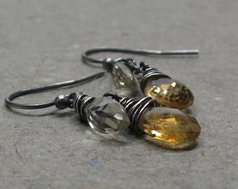 Citrine Earrings Yellow Gemstone Dangle Oxidized Sterling Silver November Birthstone Gift for Her