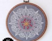 AUTUMN MANDALA - pdf embroidery pattern, embroidery hoop art,leaf mandala, winter vibes, meditative stitching, embroidered mandala