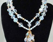 Vintage Double Strand Crystal Aurora Necklace Large Glass Beads with Tassel