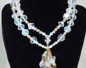 Weinlese-Doppelstrang Crystal Aurora Halskette große Glasperlen mit Quaste