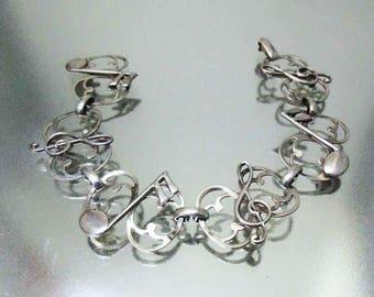 Vintage Sterling Silver Musical Bracelet Silver Bracelet Sterling Bracelet Notes G Clef Bracelet Sterling Silver Bracelet 1950's Bracelet