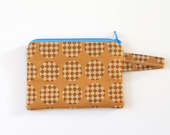 gold zipper pouch, pocket wallet, Change purse, cash wallet, earbud pouch, mom purse, business card holder, id holder, coin pouch mini