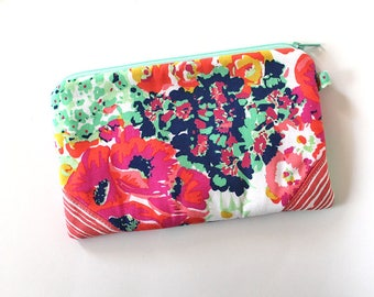 zipper pouch, cash envelope, Eyeglasses case, Pen pencil case, cash wallet, bag for mom, Cosmetic makeup case, journal supplies bag, Coral