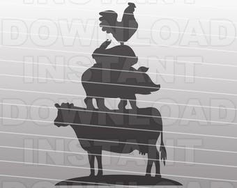 Stacked Farm Animals SVG File,Cow SVG,Pig SVG,Rabbit svg,Chicken svg-Vector Clip Art for Commercial & Personal Use-Cricut,Cameo,Silhouette