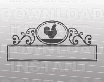 Fancy Ornate Mailbox Chicken Monogram Frame SVG File - cricut svg,silhouette svg,svg cuts,cuttable svg,svg cut file,vector svg,vinyl file