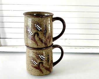 Vintage Coffee Mugs Mid Century Home Wheat Motif Brown Stoneware Set of 2 Bohemian Rustic Eclectic Home Decor Coffer Lover Gift Brown Green