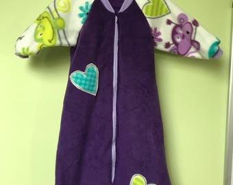 NEW-Fleece-MONKEY LOVE-Blanket Sleep Sleeper Sack-12-24M with sleeves-Ready to Ship
