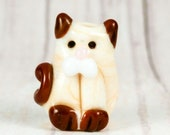 Siamese Cat Artisan Lampwork Bead Cream Beige Brown For Collecting Crafts And Jewelry