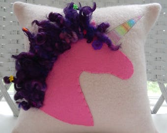 Recycled Pink Cashmere Sweater Unicorn Pillow