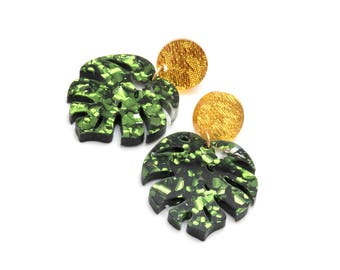 Green Monstera Drop Leaf Earrings - Green Glitter Acrylic Monstera Stud Earrings - Laser Cut Acrylic Statement Earrings - Monstera Dangles