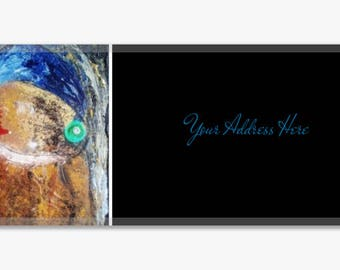 Girl With a Pearl Earring Abstract Original Artwork Address Label Stickers Sheet of 60 Personalized Modern Customize Unique Gift