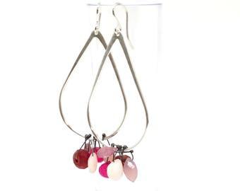 Multi stone sterling silver dangle earrings earrings amythest earrings chalcedony earrings blue jade earrings garnet moonstone