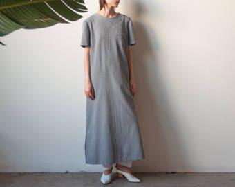 gingham oversized maxi dress / minimalist long dress / oversized simple dress / m / l / 2251d / B3