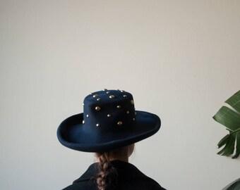 navy blue studded felt hat / wide brim felt hat / 1810a