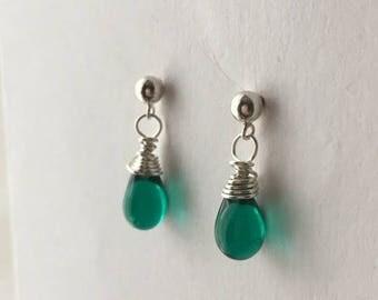 ON SALE Teal Earrings. Small Teal Bead Earrings. Teardrop Earrings. Sterling Silver Briolette Earrings. Wire Wrapped Earrings. UK Shop