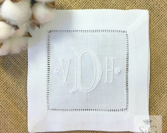 White on White Embroidered Linens. Cocktail Napkins. Linen Guest Towel. Cotton Kitchen Dishtowel. Wedding Gift. Chinoiserie