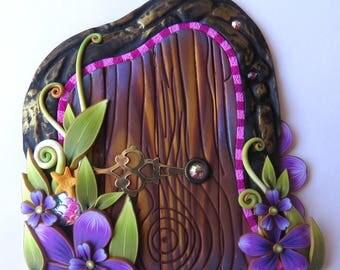 Purple Flower Fairy Door Handmade Pixie Portal Miniature Fairy Garden Decor Tooth Fairy Entrance