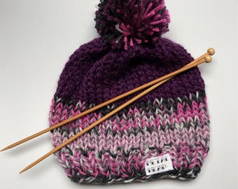 Heavy Metal tattoo patch purpke knit beanie hat