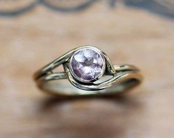 Gold morganite ring, morganite promise ring, pink morganite engagement ring, non diamond engagement ring, Pirouette, ready to ship size 5