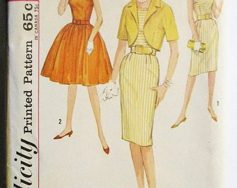 60% OFF SALE 1960s Vintage Sewing Pattern Simplicity 4811 Juniors One-Piece Dress & Jacket Pattern Size 11 Bust 31 1/2 Uncut