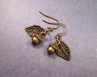 Acorn and Leaf Earrings, Brass Dangle Earrings, FREE Shipping U.S.