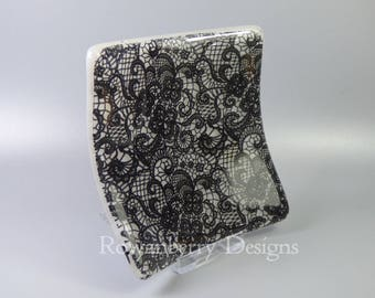 Gothic Lace - Handmade Fused and Slumped Glass Trinket Dish