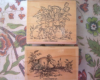 RABBITS Lot of 2 Stampin Up Retired Wood Mounted Rubber Stamps UNUSED 2012