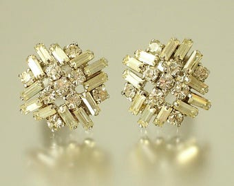 Vintage/ estate 1950s chrome plated and paste rhinestone, costume clip on earrings - jewelry jewellery