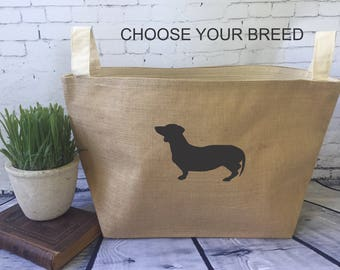 large personalized  lined burlap dog toy basket , burlap storage tote, dog breed toy bag, dachsund