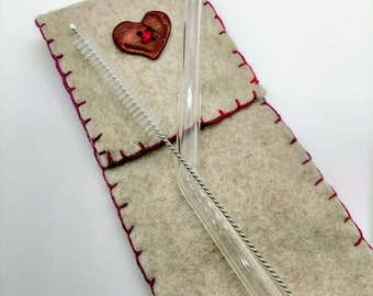 Eco Friendly Handmade Boro Glass Drinking Straw Felt Pouch Red Heart Button Straw Cleaning Brush - Prima Donna Beads