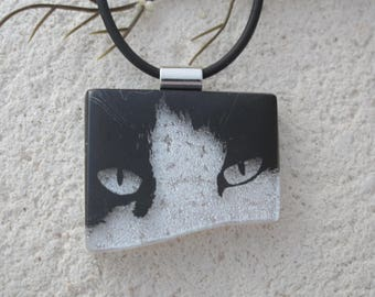 Cat Necklace, Dichroic Necklace, Dichroic Jewelry, Fused Glass Jewelry, Black Whiite Cat, Jewelry, Black Necklace, Ccvalenzo, 061717p101