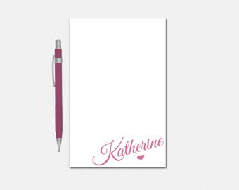 Personalized Notepad - Simple Heart Notepad - Personalized Notepad for Her - 50 Color Choices - Cute Stationery for Girls