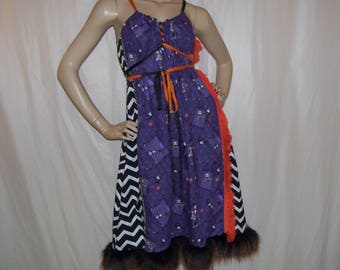 Nightmare Before Christmas Dress Burton Cartoon Jack Zero Fur Furry Fringe Sundress Geek Resort Cruise Gray Black Purple Adult M L XL Plus