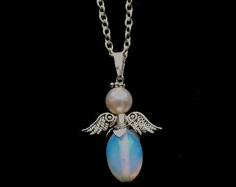 Blue Opalite Angel Pendant, Silver Plated Pendant, Oval Blue Bead Skirt, Creamy White Pearl Angel - Guardian Angel by enchantedbeads on Etsy