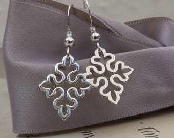 Gothic Cross earrings in smooth Sterling Silver